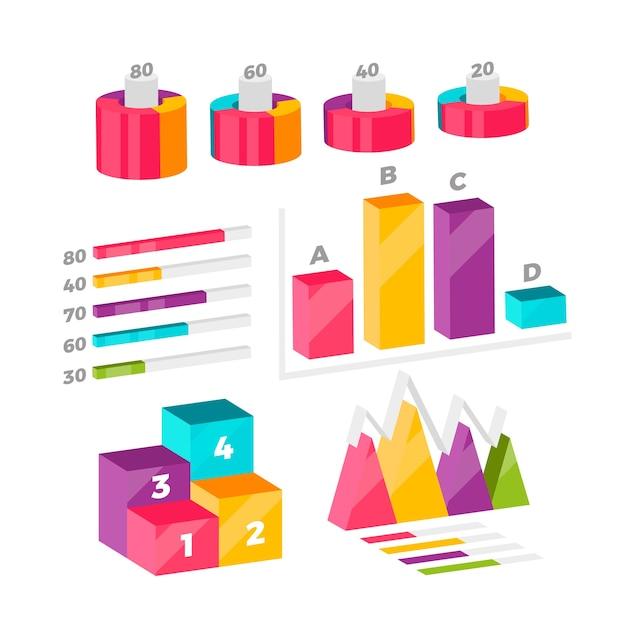 Collezione di infografica isometrica colorato Vettore gratuito