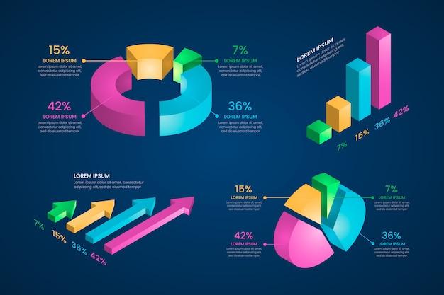 Collezione di infografica isometrica Vettore gratuito