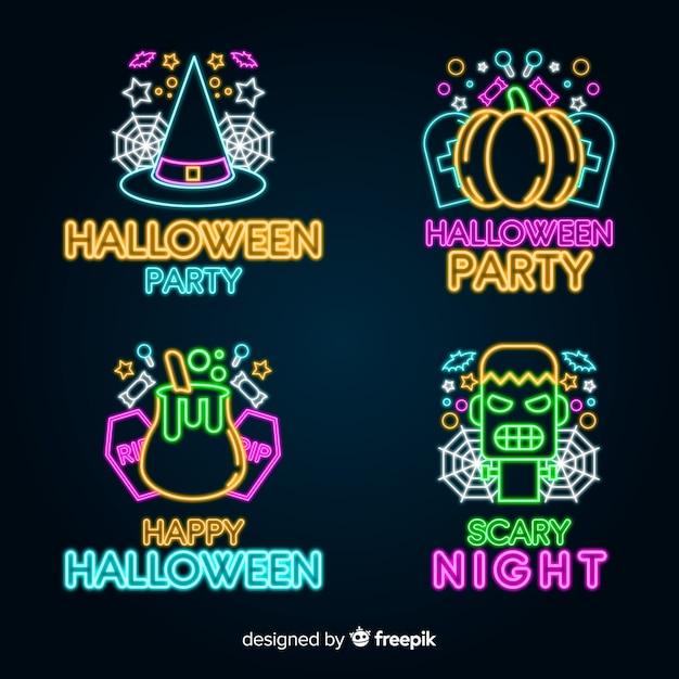 Collezione di insegne al neon di halloween Vettore gratuito