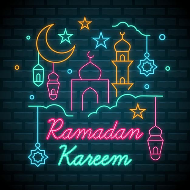 Collezione di insegne al neon di ramadan Vettore gratuito
