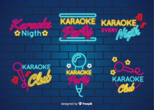 Collezione di insegne luminose al neon di notte karaoke Vettore gratuito
