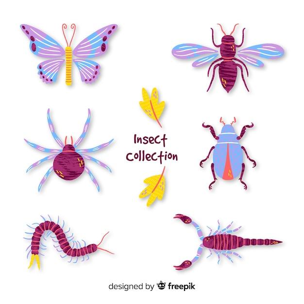 Collezione di insetti disegnati a mano Vettore gratuito