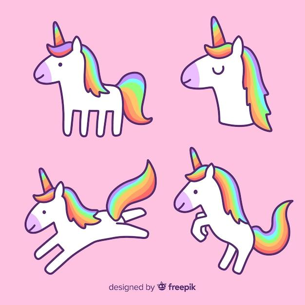 Collezione di kawaii unicorno disegnata a mano Vettore gratuito