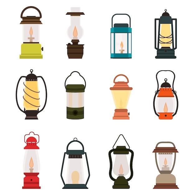 Collezione di lampade a olio per lanterne da campeggio Vettore Premium