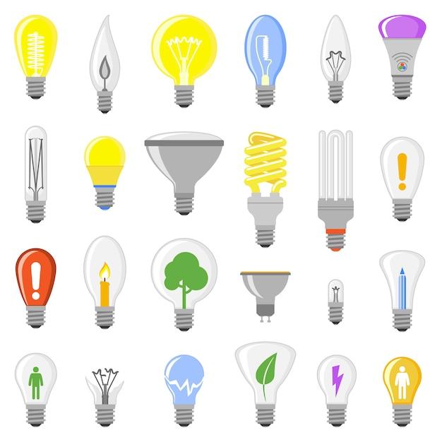 Collezione di lampadine di lampade del fumetto Vettore Premium