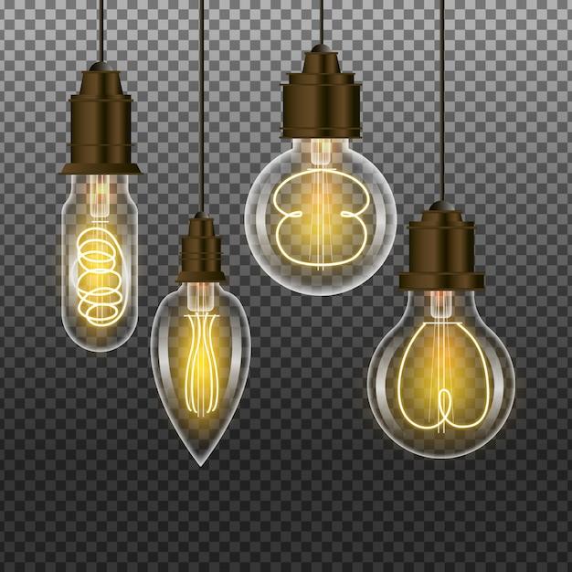 Collezione di lampadine realistiche Vettore gratuito