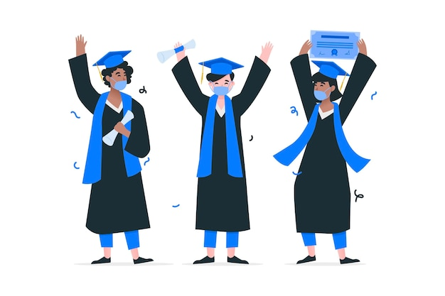 Collezione di laureati che indossano maschere mediche Vettore gratuito