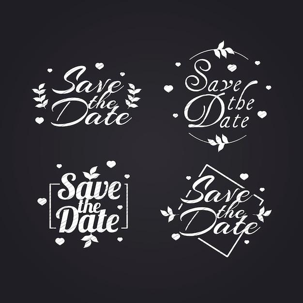 Collezione di lettere di nozze bianche Vettore gratuito