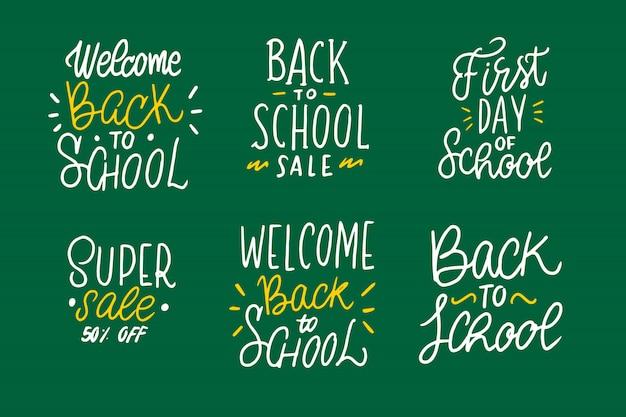 Collezione di lettere di ritorno a scuola Vettore gratuito