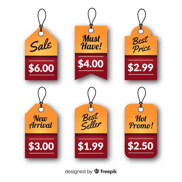 Collezione di listini prezzi flat label Vettore gratuito