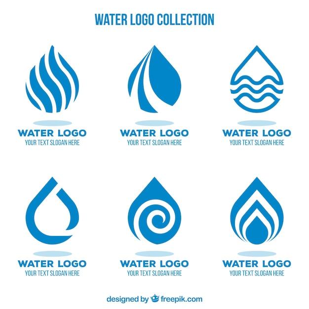 Collezione di loghi acquatici per aziende in stile piatto Vettore gratuito