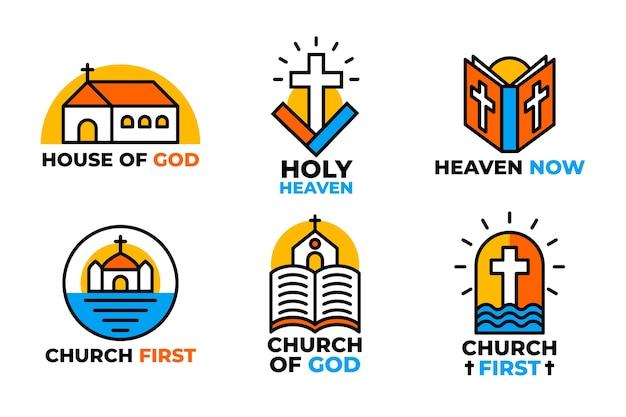 Collezione di loghi colorati chiesa Vettore gratuito