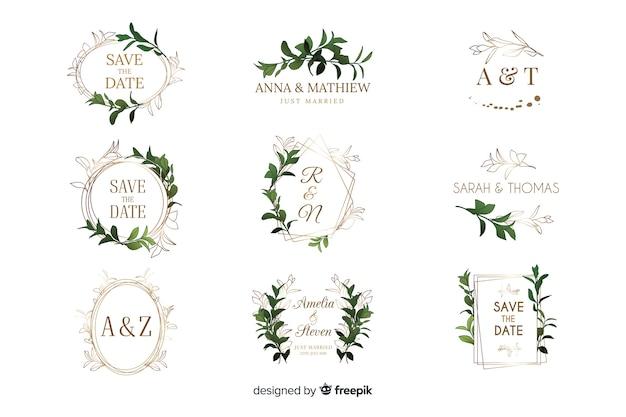 Collezione di loghi cornice matrimonio dell'acquerello Vettore gratuito
