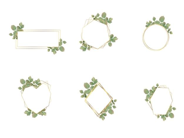 Collezione di loghi cornice matrimonio dell'acquerello Vettore Premium