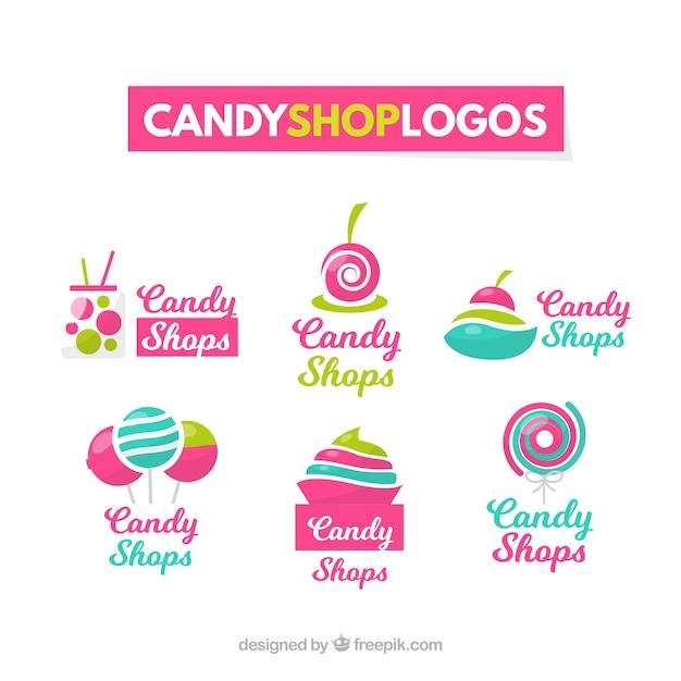 Collezione di loghi del negozio di caramelle per le aziende Vettore gratuito