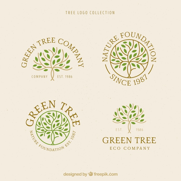 Collezione di loghi dell'albero in stile piatto Vettore gratuito