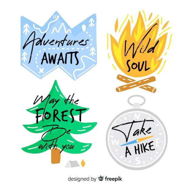Collezione di loghi di avventura disegnati a mano Vettore gratuito