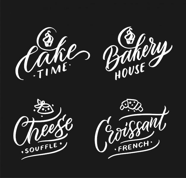 Collezione di loghi di cibi e bevande. set di moderni badge fatti a mano, emblemi, etichette, elementi per torte, pasticceria, formaggi, cornetti. illustrazione vettoriale Vettore Premium