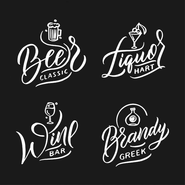 Collezione di loghi di cibi e bevande. set di moderni badge fatti a mano, emblemi, etichette, elementi, simboli, frasi. Vettore Premium