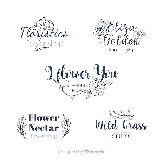 Collezione di loghi di fioristi di nozze Vettore gratuito