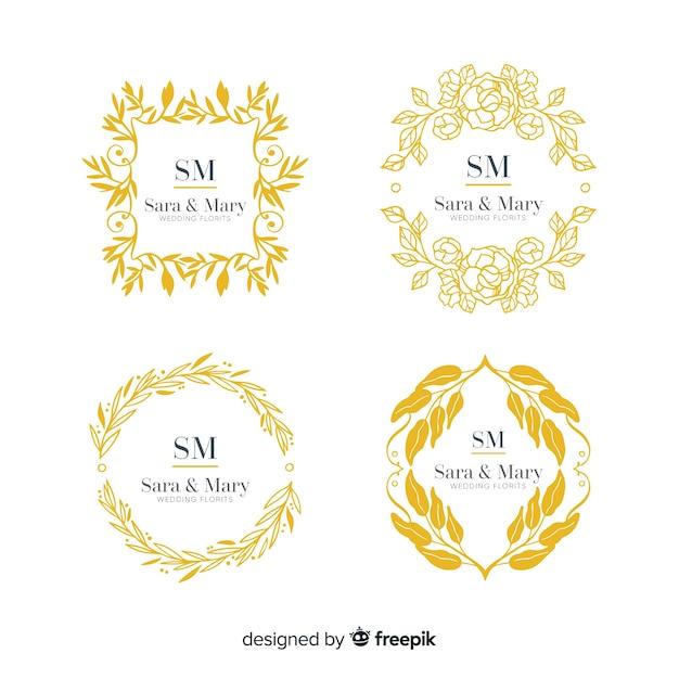 Collezione di loghi di nozze monogram Vettore gratuito