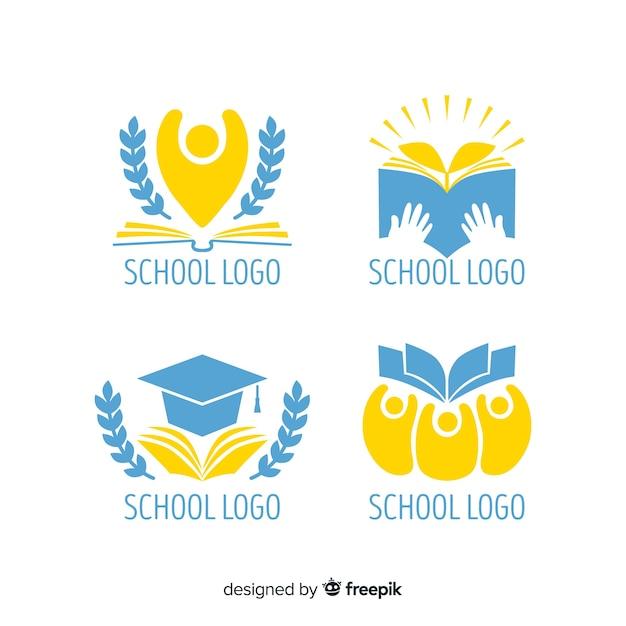 Collezione di loghi di scuola piatta Vettore gratuito