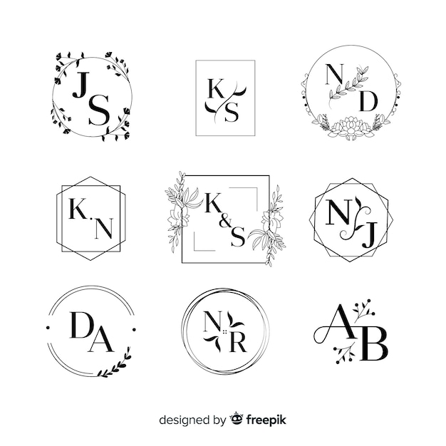 Collezione di loghi monogramma di nozze Vettore gratuito
