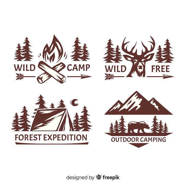 Collezione di logo avventura disegnati a mano incolore Vettore gratuito