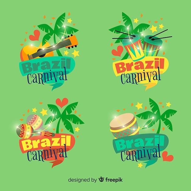 Collezione di logo del carnevale brasiliano Vettore gratuito