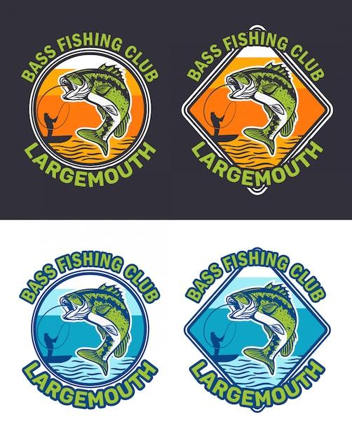 Collezione di logo del club di pesca della spigola Vettore Premium
