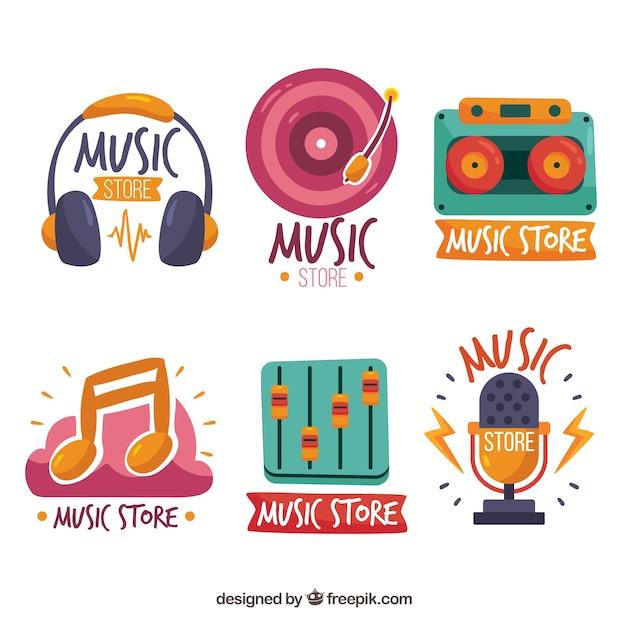 Collezione di logo del negozio di musica con design piatto Vettore gratuito