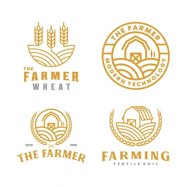 Collezione di logo dell'azienda agricola Vettore Premium