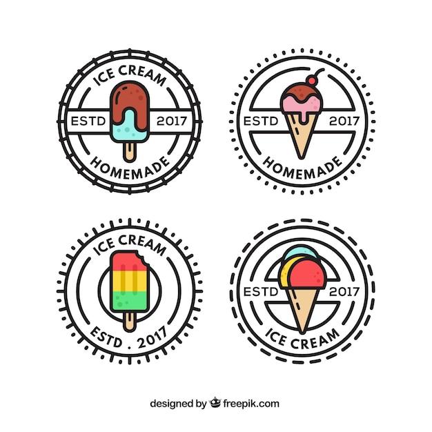 Collezione di logo di gelato dell'annata Vettore gratuito