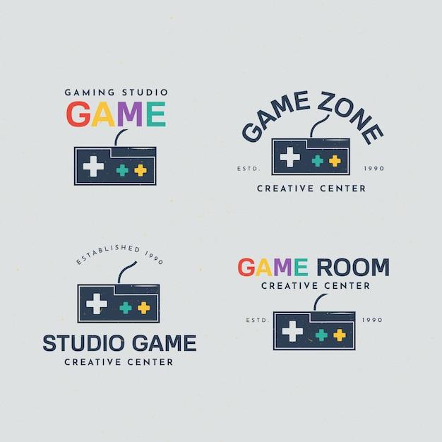 Collezione di logo di gioco con design piatto Vettore gratuito