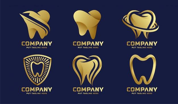 Collezione di logo di lusso per la cura dei denti di lusso per l'azienda Vettore Premium