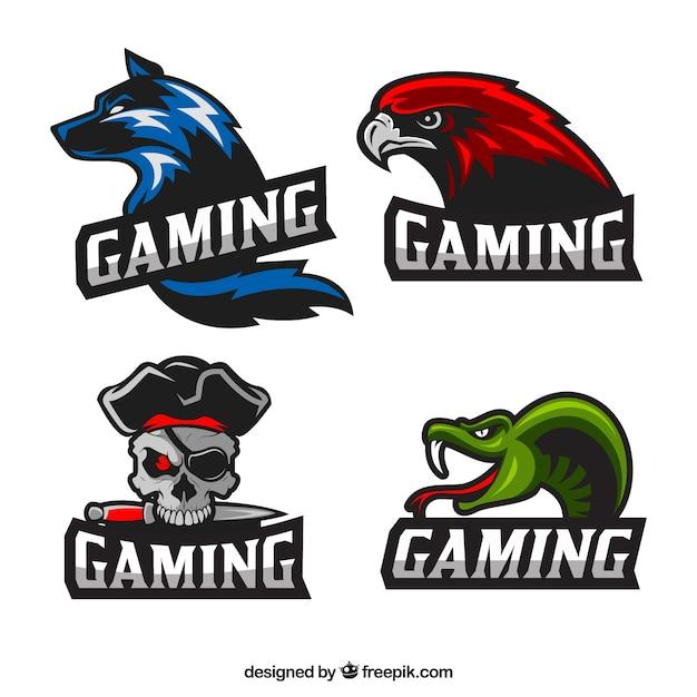 Collezione di logo di videogiochi con design piatto Vettore gratuito