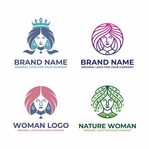Collezione di logo donna moderna, bellezza. Vettore Premium