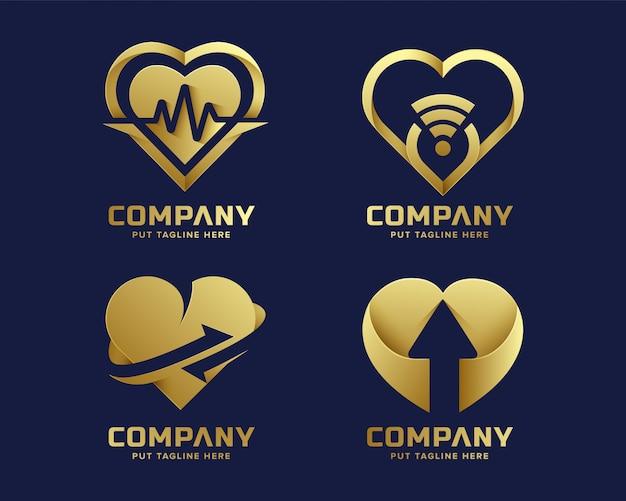 Collezione di logo dorato amore cuore premium di lusso Vettore Premium