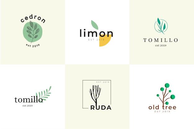 Collezione di logo minimal business naturale Vettore gratuito