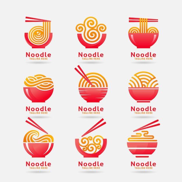 Collezione di logo noodle Vettore Premium
