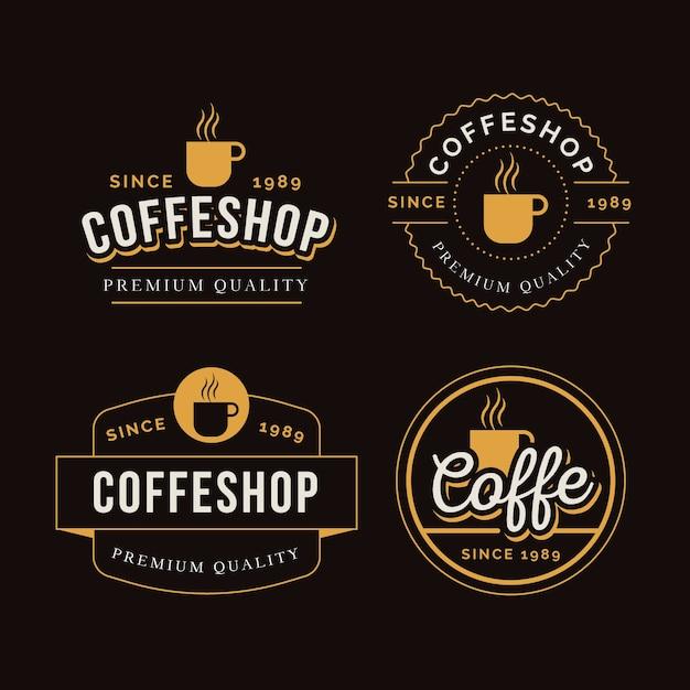 Collezione di logo retrò caffetteria Vettore gratuito