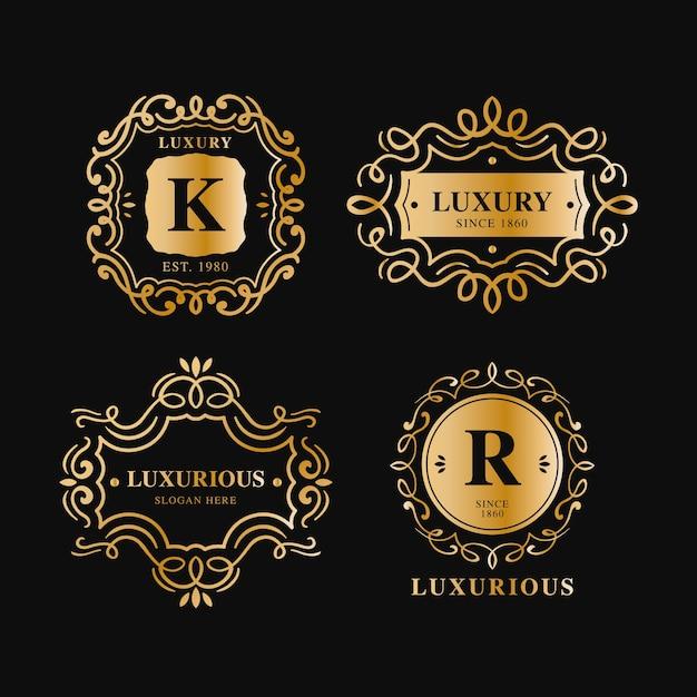 Collezione di logo retrò di lusso Vettore gratuito
