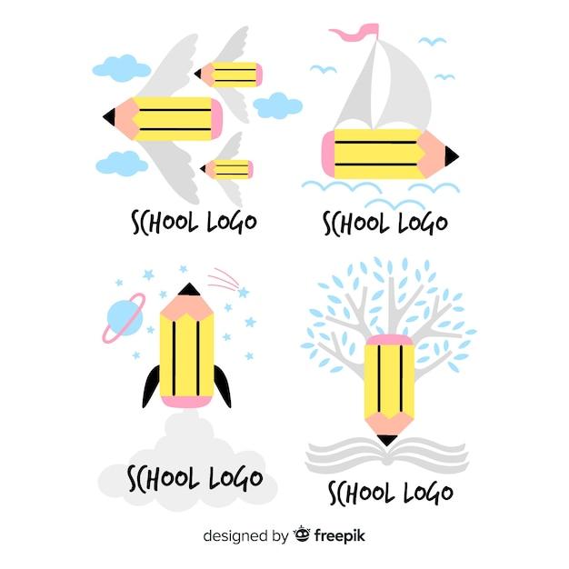 Collezione di logo scuola disegnata a mano Vettore gratuito