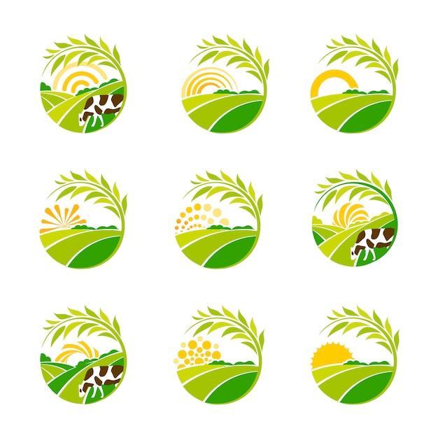 Collezione di logo verde isolato fattoria. set di loghi di paesaggio rurale. Vettore Premium