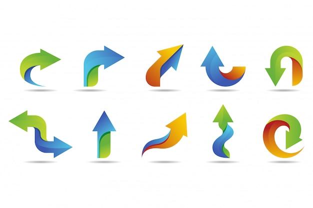 Collezione di logo vettoriale freccia con stile colorato Vettore Premium