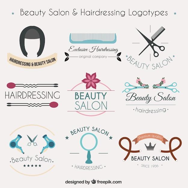 Collezione di logotipi di parrucchiere Vettore gratuito