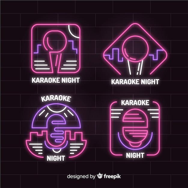 Collezione di luce al neon karaoke disegnata a mano Vettore gratuito