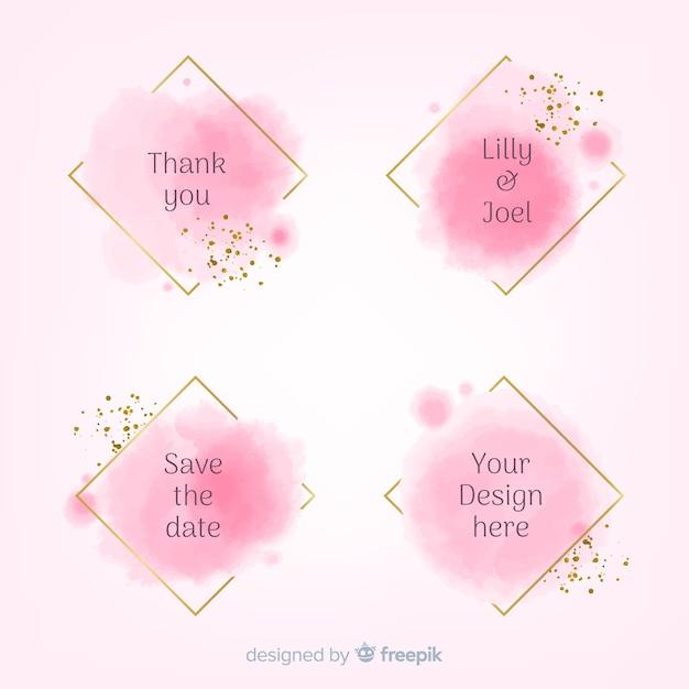 Collezione di macchie di nozze macchie acquerello Vettore gratuito