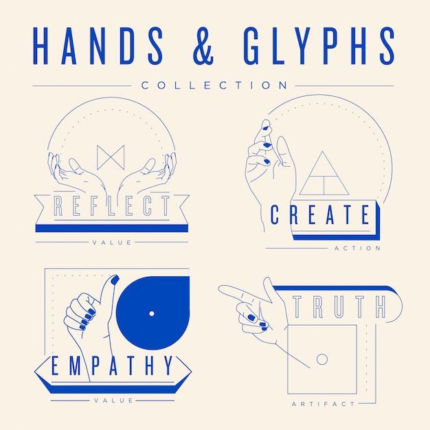 Collezione di mani e glifi. Vettore Premium