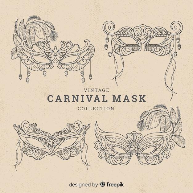 Collezione di maschere di carnevale Vettore gratuito